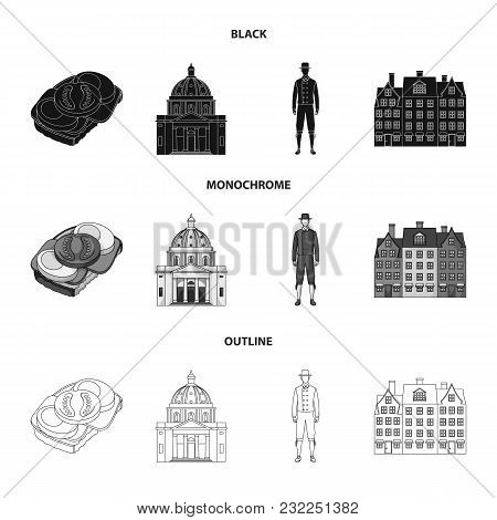 Denmark, History, Restaurant, And Other  Icon In Black, Monochrome, Outline Style.sandwich, Food Bre
