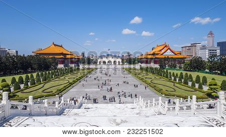 National Chiang Kai-shek Memorial Hall, Taiwan - March 1, 2018 : Cks Memorial Hall Under Blue Sky An