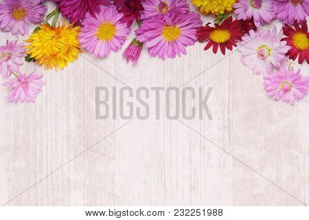 Top Rounded Border Of Chrysanthemum Flowers On Light Wooden Background From Above.