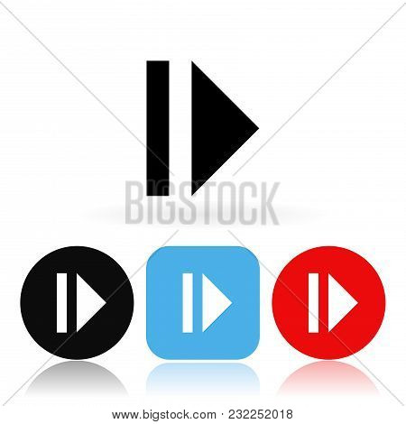 Pause Icon. Colored Icons With Reflection. Vector Illustration On White Background