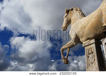 Ancient Roman Marble Statue Of An Horse At The Top Of Capitoline Hill In Rome, Dated Back To The 1st