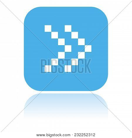 Arrow Icon. Dotted Double Icon Or Fast Forward Square Blue Button. Vector Illustration On White Back