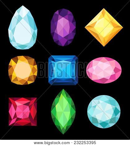 Precious Stones, Gems Of Various Shapes And Colors Collection Vector Illustrations Isolated On A Bla
