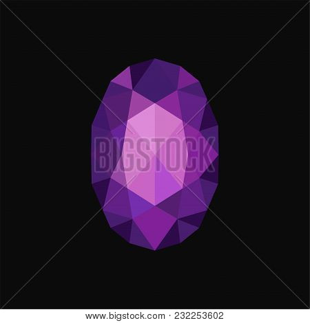 Purple Precious Jewerly Stone, Gemstone Vector Illustration Isolated On A Black Background.