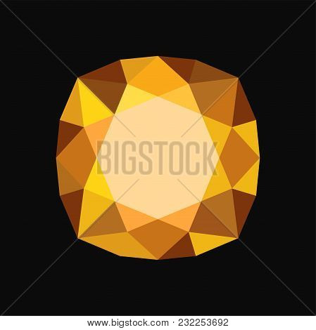 Yellow Precious Stone, Gemstone Vector Illustration Isolated On A Black Background.