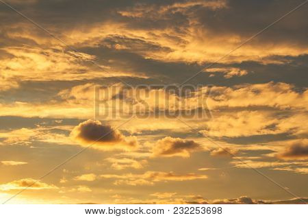 Dramatic Sunset Cloudy Sky With Clouds Lit By Sunset Sunlight, Natural Sunset Sky Background, Colorf