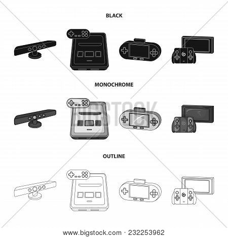Game And Tv Set-top Box Black, Monochrome, Outline Icons In Set Collection For Design.game Gadgets V