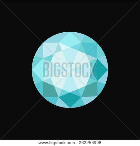 Light Blue Circle Precious Stone, Gemstone Vector Illustration Isolated On A Black Background.