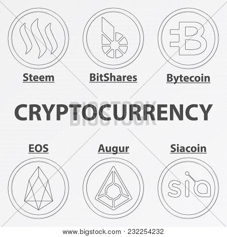 Set Of 6 Crypto Currency Lineart Icon. Linear Steem, Siacoin, Bytecoin, Eos, Augur And Bitshares Coi