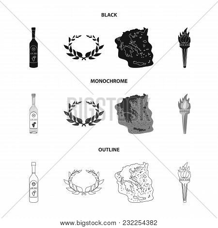 Greece, Country, Tradition, Landmark .greece Set Collection Icons In Black, Monochrome, Outline Styl