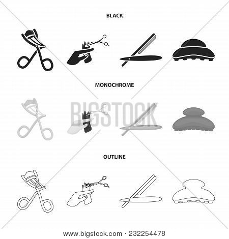 Scissors, Brush, Razor And Other Equipment. Hairdresser Set Collection Icons In Black, Monochrome, O