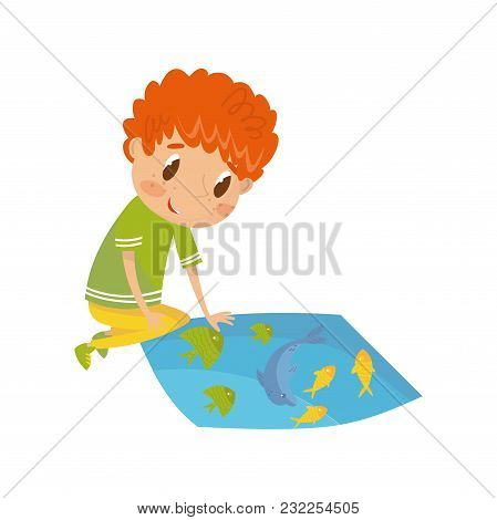 Boy Learning Underwater World, Preschool Activities And Early Childhood Education Concept Vector Ill