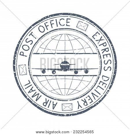 Postal Stamp Express Delivery Air Mail. Round Black Postmark With Aircraft Sign. Vector Illustration