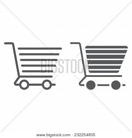 Shopping Cart Line And Glyph Icon, E Commerce And Store, Food Retail Sign Vector Graphics, A Linear