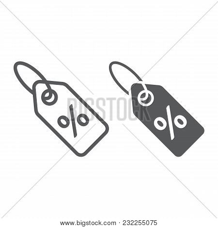 Discount Percent Tag Line And Glyph Icon, E Commerce And Marketing, Price Tag Sign Vector Graphics,