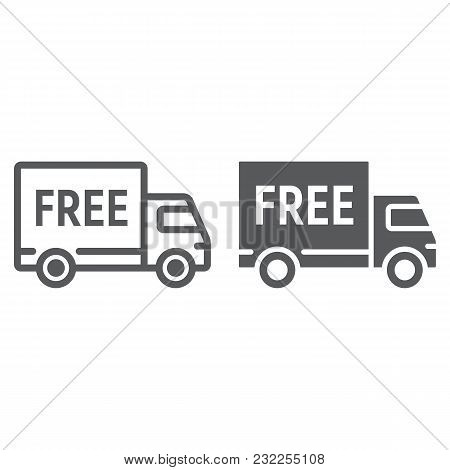Free Delivery Line And Glyph Icon, E Commerce And Marketing, Truck Service Sign Vector Graphics, A L