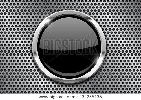 Metal Perforated Background With Black Round Glass Plate. Vector 3d Illustration