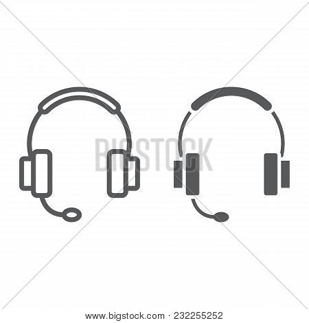 Tech Support Line And Glyph Icon, E Commerce And Marketing, Headset Sign Vector Graphics, A Linear P
