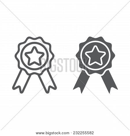 Badge With Ribbons Line And Glyph Icon, E Commerce And Award, Quality Sign Vector Graphics, A Linear