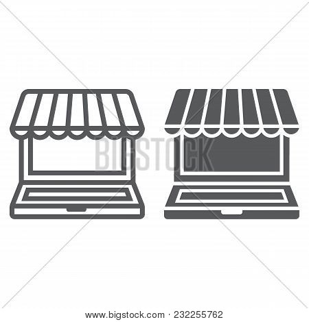 Marketplace Online Line And Glyph Icon, E Commerce And Marketing, Online Market Sign Vector Graphics