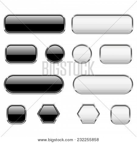 White And Black Buttons. Glass 3d Icons With Chrome Frame. Vector Illustration Isolated On White Bac