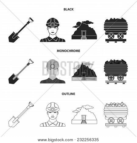 A Shovel, A Miner, An Entrance To A Mine, A Trolley With Coal.mine Set Collection Icons In Black, Mo
