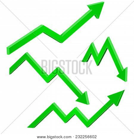 Green Financial Up And Down Moving Arrows. Rising And Falling Trends. Vector 3d Illustration