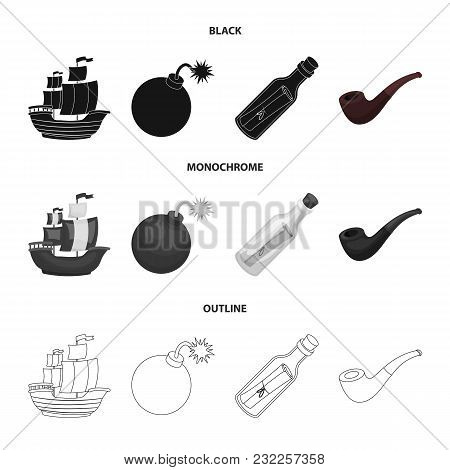 Pirate, Bandit, Ship, Sail .pirates Set Collection Icons In Black, Monochrome, Outline Style Vector