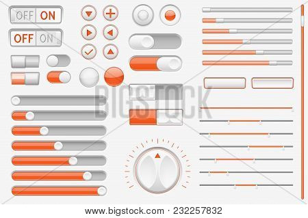 Gray Orange Interface Buttons, Sliders. Vector 3d Illustration