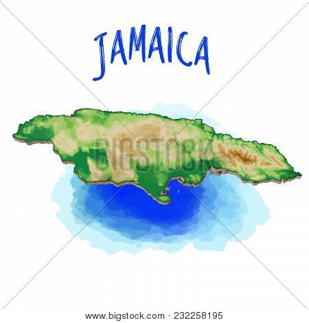 3d Map Of Jamaica - Caribbean - Vector Illustration, Topographic Version. Use For Travel Marketing A