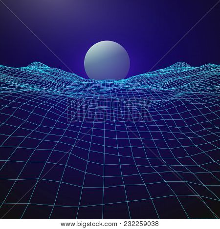 Futuristic Retro Design. 80s Year Style. Digital Landscape With Rising Planet On Horizon. Vector Ill