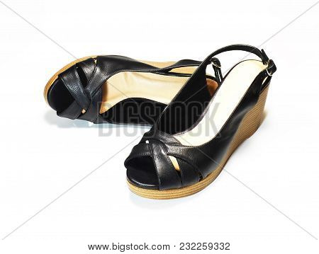 Pair Of Elegant Woman Black High-heel Shoes, Slingback Shoes, Chunky Heel Shoes, Isolated On White B