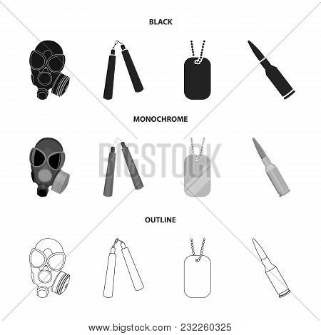 Gas Mask, Nunchak, Ammunition, Soldier Token. Weapons Set Collection Icons In Black, Monochrome, Out