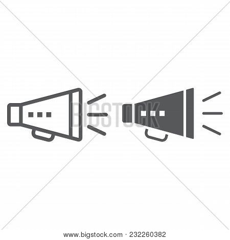 Promotion Line And Glyph Icon, Development And Business, Loudspeaker Sign Vector Graphics, A Linear