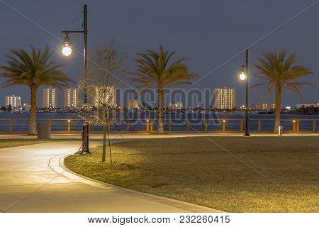 Riverfront Riverwalk Park In Port Orange Florida With A Skyline View Of Daytona Beach Shores.