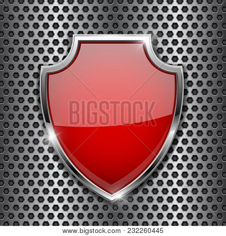 Metal 3d Red Shield On Metal Perforated Background. Vector Illustration