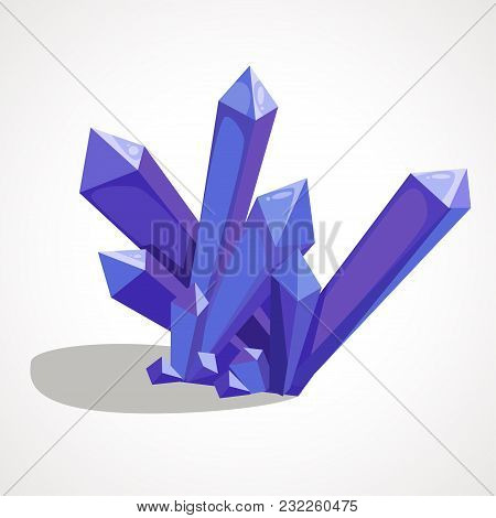 Cartoon Blue Crystal Is A Natural Gemstone. Vector Element