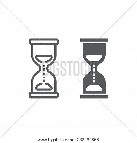 Hourglass Line And Glyph Icon, Development And Business, Deadline Sign Vector Graphics, A Linear Pat