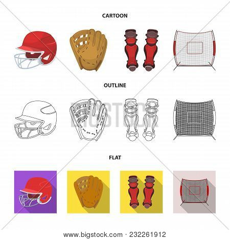Helmet Protective, Knee Pads And Other Accessories. Baseball Set Collection Icons In Cartoon, Outlin