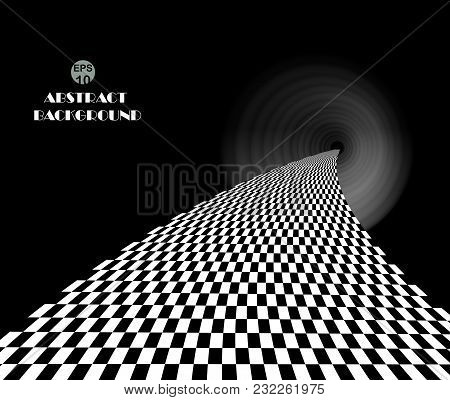 Checkered Pattern In Dark Place Walk Way Background, Idea Of The Future In Dimension. Illustration V