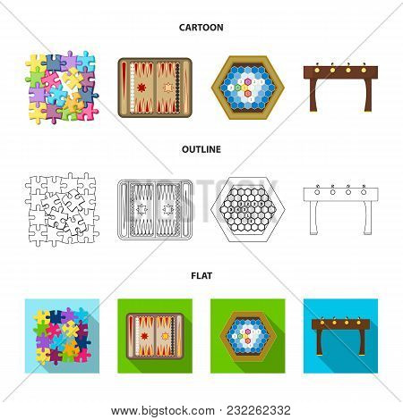 Board Game Cartoon, Outline, Flat Icons In Set Collection For Design. Game And Entertainment Vector