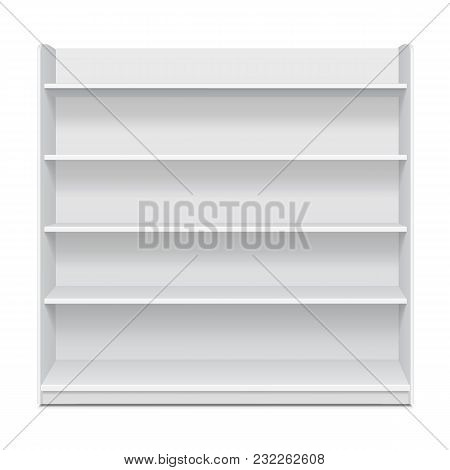 White Long Blank Empty Showcase Displays With Retail Shelves Front View 3d Products On White Backgro