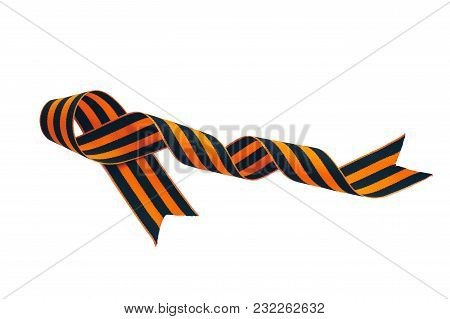 Orange And Black Striped Ribbon Symbol On May 9. The Symbol Of The Great Victory Over The Nazis, Vic