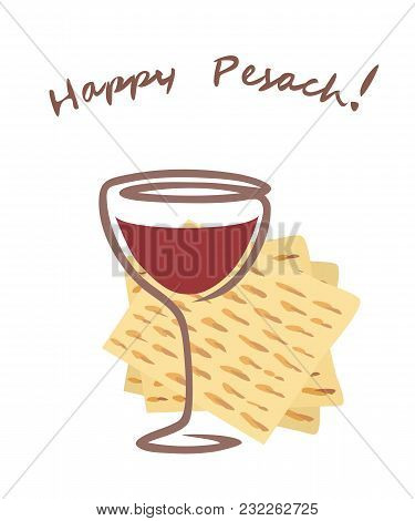 Happy Pesach Vector Greetings Illustration In Flat Style