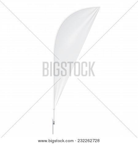 Outdoor Teardrop Feather Flag With Ground Spike, Stander Advertising Banner Shield. Mock Up Products
