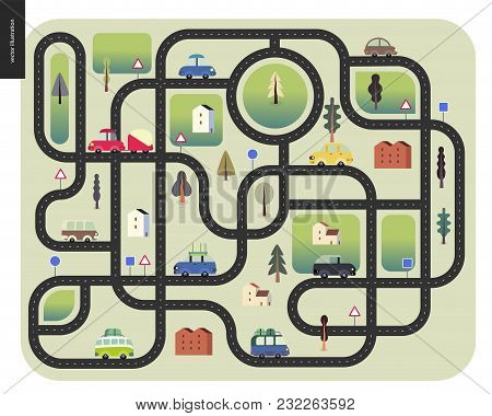 Urban Road Map - Street Roads With Cars, Road Signs, Trees And Houses, Top View