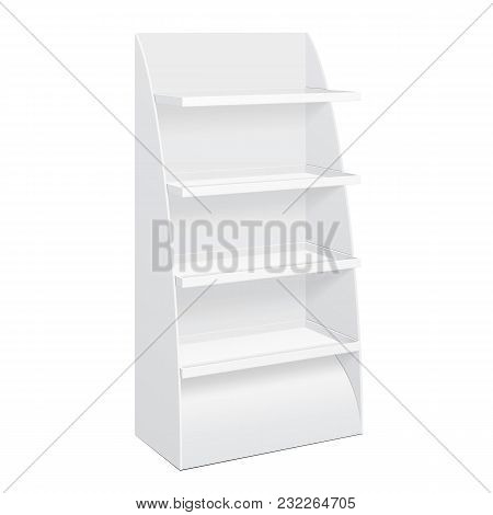 White Cardboard Floor Display Rack For Supermarket Blank Empty Displays With Shelves Products Mock Up On White Background Isolated. Ready For Your Design. Product Packing. Vector EPS10 poster