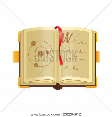 Colorful Old Magical Open Book With Mystical, Magical Spells, Astrological Material, Illustrations,