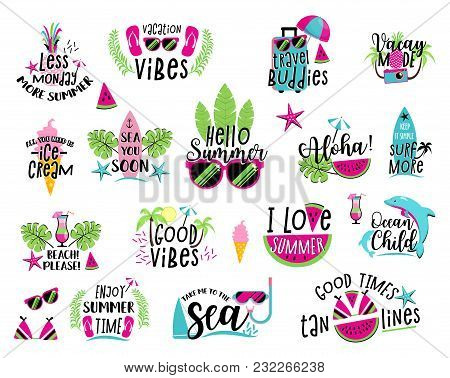 Summer Badge Set. Happy Season Of Summertime Sea Fun, Vacation Beach Holiday Design With Colorful Le