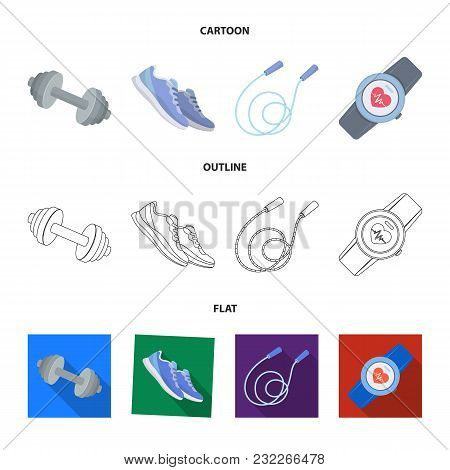 Dumbbell, Rope And Other Equipment For Training.gym And Workout Set Collection Icons In Cartoon, Out